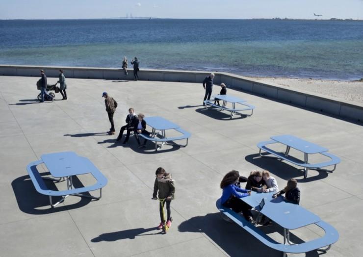 Plateau-O picknicktafels rond - op de boulevard