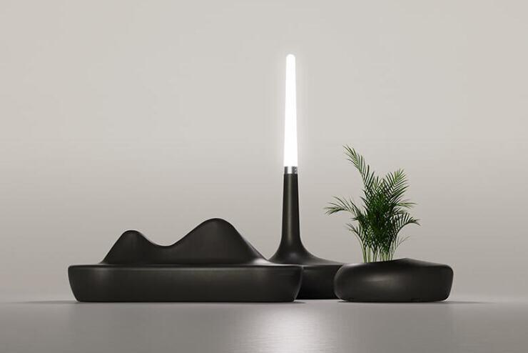 Ecologische plantenbak met zit - In deze serie ook een lamp en bank