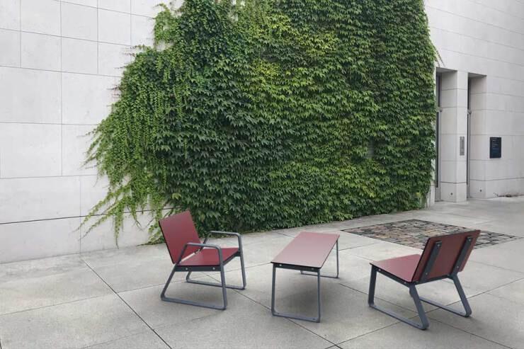 Bibi stoel met tafel voor buiten - rood