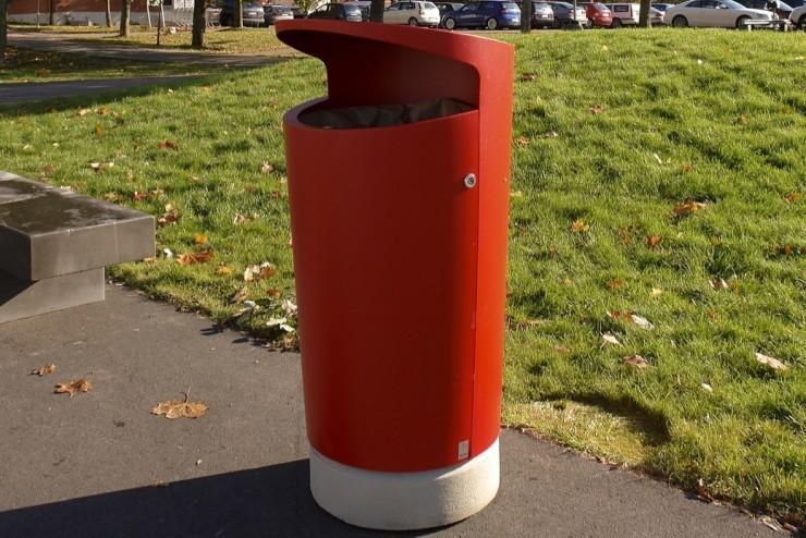 Elbin afvalbak rood voor de buitenruimte