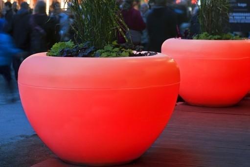 Scoop Light plantenbak met verlichting ronde bloembak