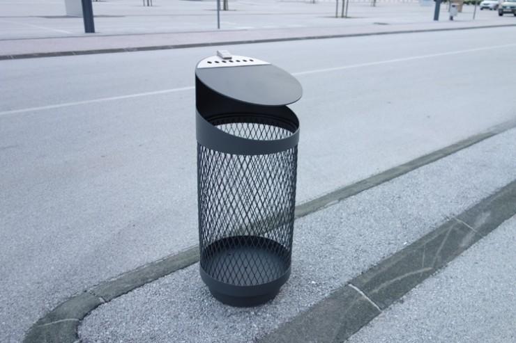 Tubo V security veiligheidsbak - transparante afvalbak van metaal