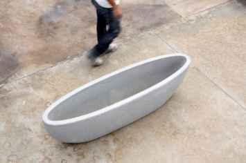 Nau plantenbak langwerpig betonnen bak voor planten