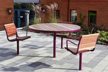 Parco tafel straatmeubilair voor buitenmeubilair voor de openbare ruimte ronde tafels en vierkante en langwerpige vergadertafel publieke ruimte buitenwerken studeren studenten van hout en staal vast buiten laten staan duurzaam tegen regen en sneeuw wind