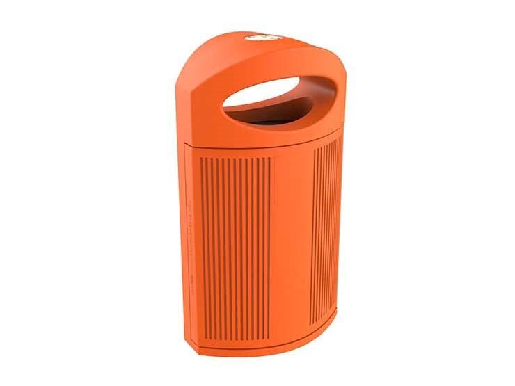 Ruime oranje kunststof afvalbak Ibiza. Geschikt voor scholen, spotparken, horeca, recreatiecentra, zorginstellingen