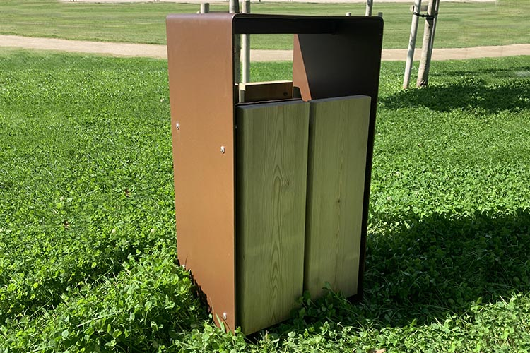 Afvalbak Taulo van grenen hout en staal - Inhoud 60 L