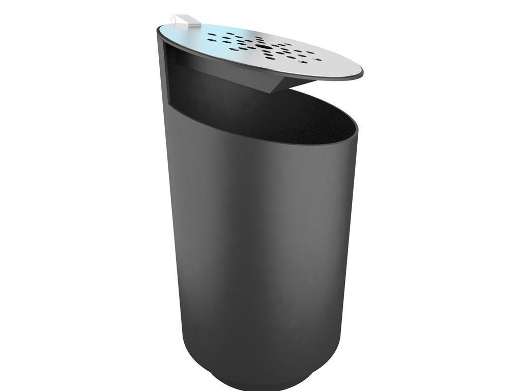 Tubo afvalbak - zwart met geïntegreerde asbak