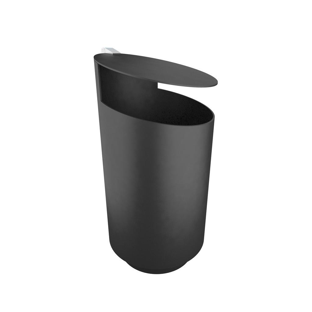 Tubo afvalbak cortenstaal geroest of roestvrij staal met asbak buiten prullenbak rond met klep en sleutel voor afval en zwerfvuil in openbare ruimte of winkelcentrum zorgcentrum straatmeubilair winkelgebied buiten prullenbak vuilnisbak recycle afval