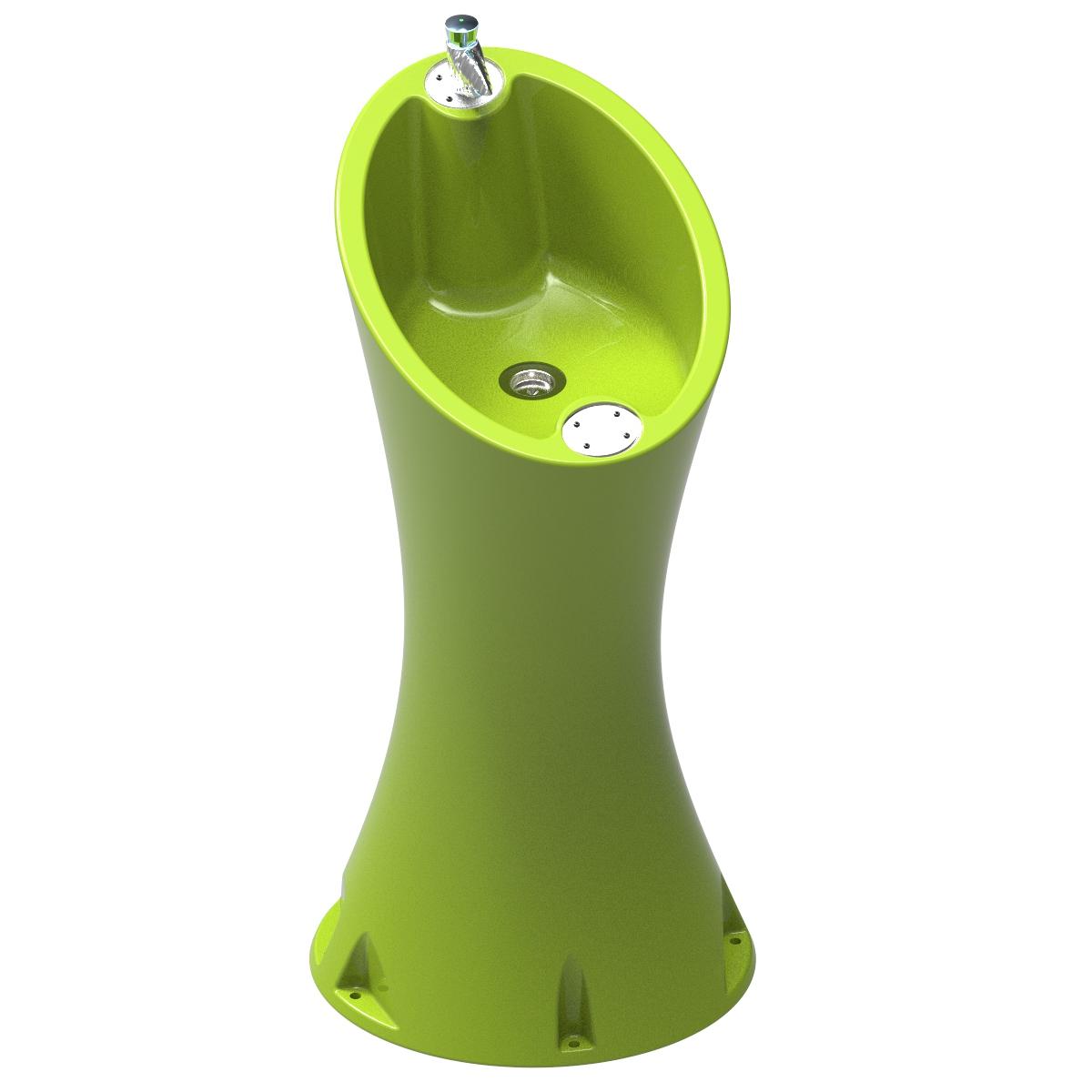 Waterfontein in lime groen - makkelijk te monteren op de grond