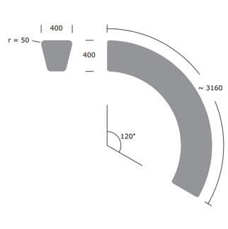 Loop Arc bank - technische tekening