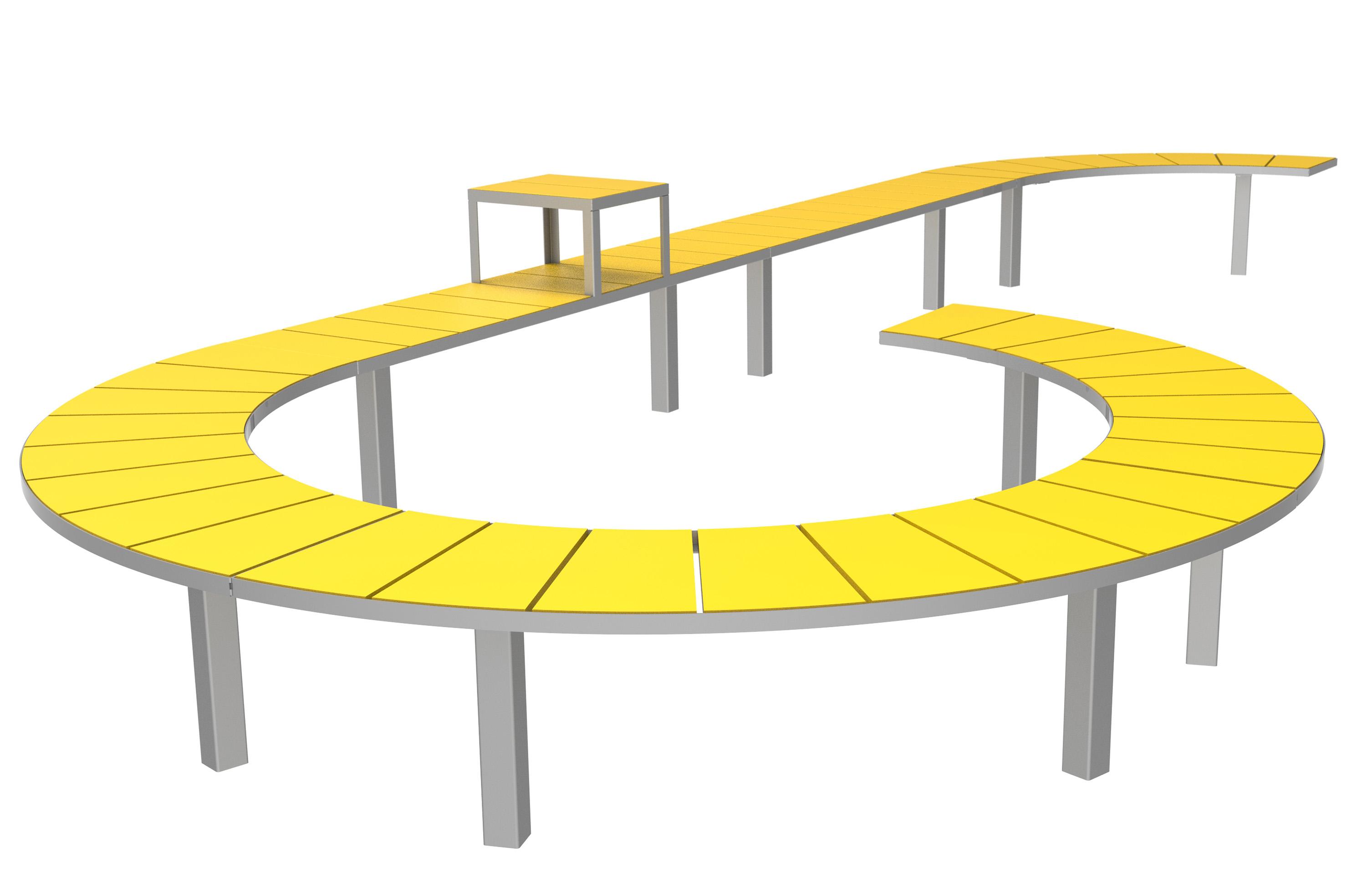 Sidewalk bank met radius voor buiten