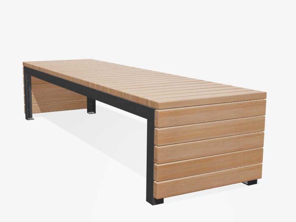 Bank Woodrow van larikshout en grijs frame