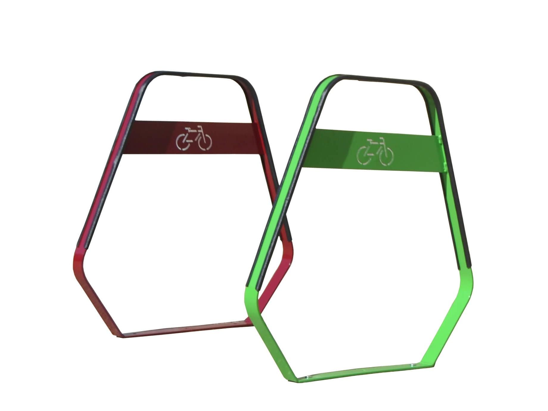 Groen en rood fietsenrek ook wel fietsbeugel genoemd ronde moderne vorm en wat afgeronde hoeken en een fiets afgebeeld in staal