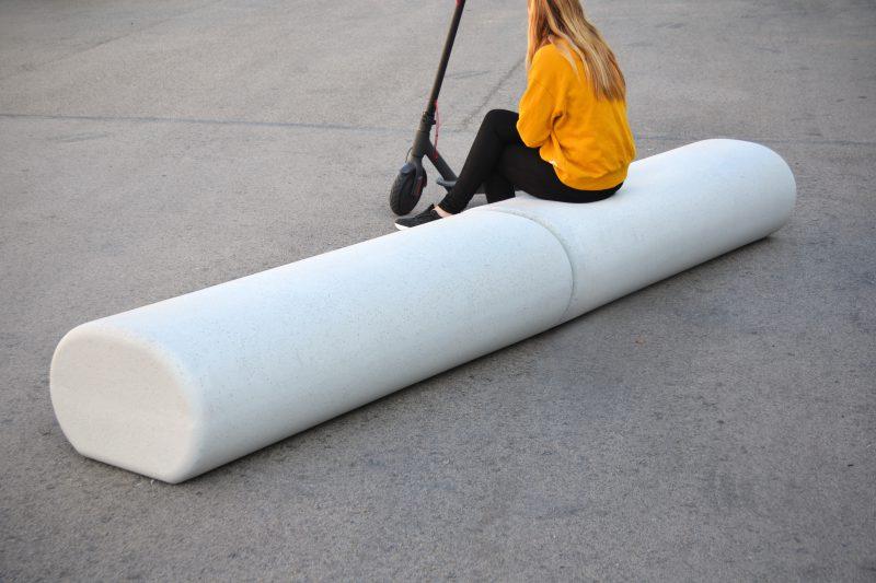 Cinnamon zitelement - rechtlijnige beton bank