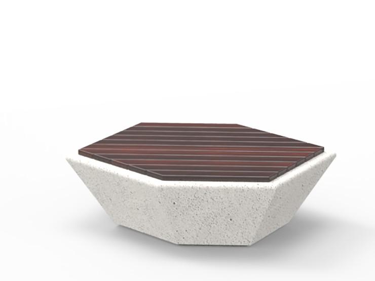 cristal zitelement van beton met een houten zitting voor de openbare ruimte stervormig steen zitsteen zitkei soort stoel met hoekige vormen in het wit zwart grijs antraciet parkbank kantoortuin openbare ruimte ziekenhuis zorgcentrum ook in rood blauw groe