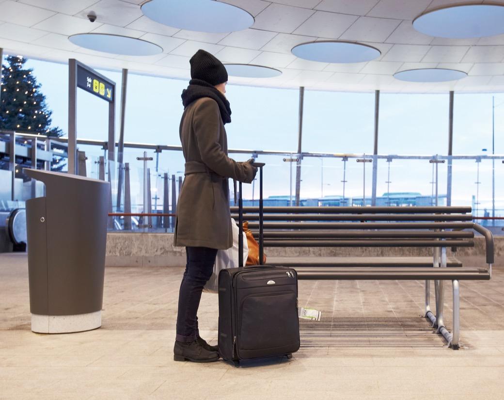 Elbin afvalbak voor stations en luchthavens