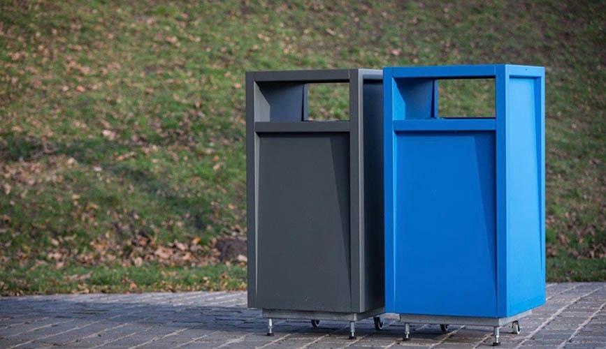 Frame afvalbak vierkant staal grijs en blauw met inworp gat