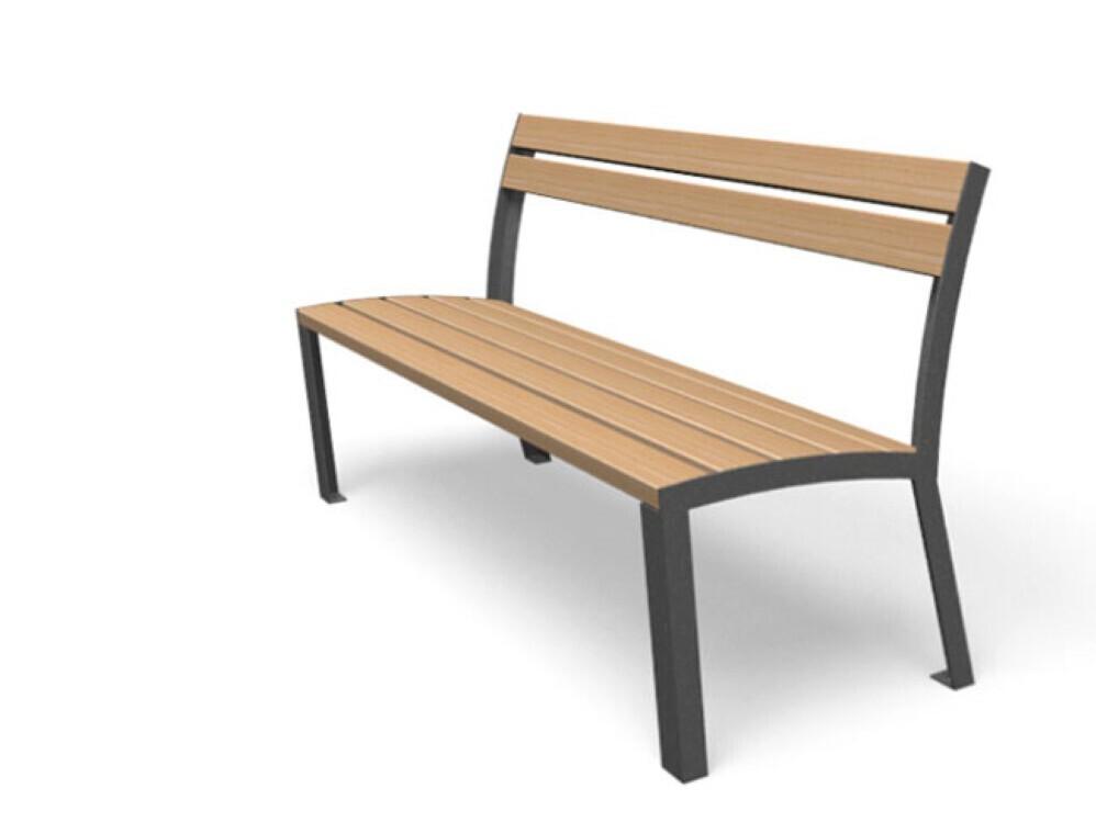 La strada bank miramondo buitenbank parkbank voor buiten buitenmeubilair van hout vandalisme bestendig houten straatmeubilair met tafel en stoelen bankje zonder rugleuning in 3 kleuren grijs en bruin-rood openbare ruimte hufterproof voor kantoor