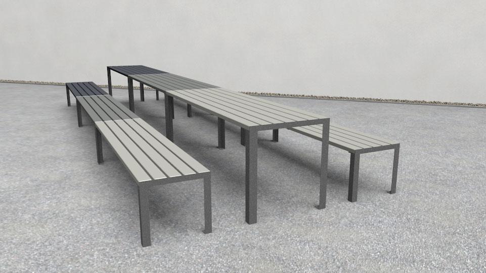 La strada tafel hout gekleurd rood wit zwart groen grijs oranje blauw buitentafel openbare ruimte buitenruimte terras horeca winkelcentrum rustplek zitten lunchen eten drinken buitenwerken kantoor ziekenhuis hal flat ontvangst leestafel praktijk