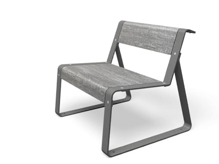 La superfine stoel in het grijs met zitting en rugleuning in licht antraciet grijze kleur en stalen frame ook in het grijs stoel voor in de openbare ruimte die kan worden verankerd in de grond