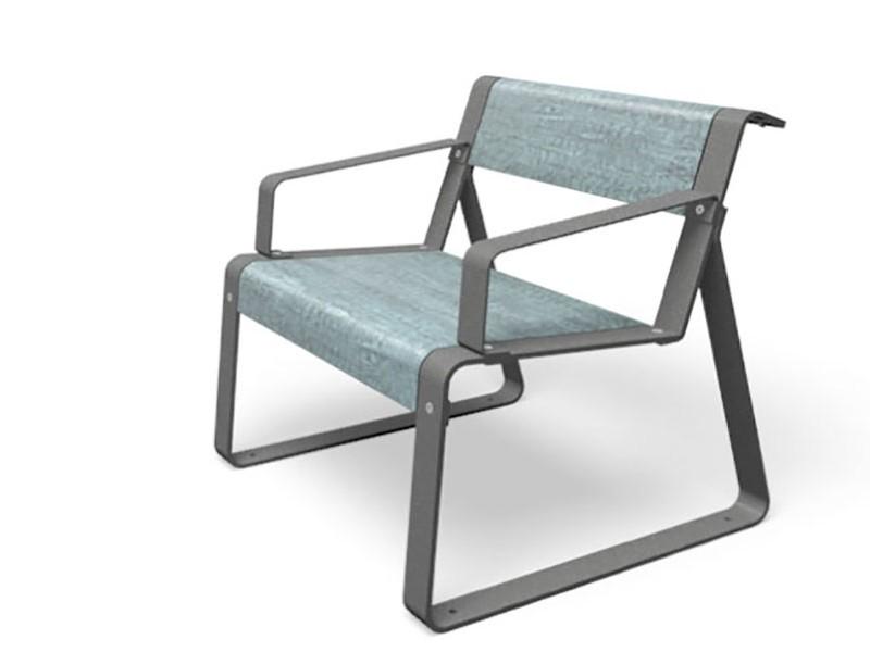 La superfine stoel gemaakt van HPL en gegalvaniseerd staal