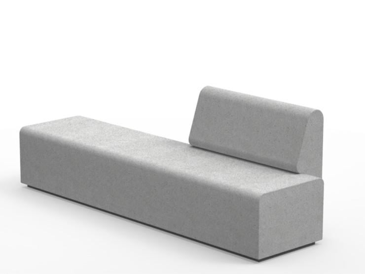 Lancer bloc bank beton massief met rugleuning in grijs antraciet wit of zwart duurzaam steen buitenmeubilair voor op straat parkbank voor openbare ruimte inrichting entree hufterproof sterke buitenbankje