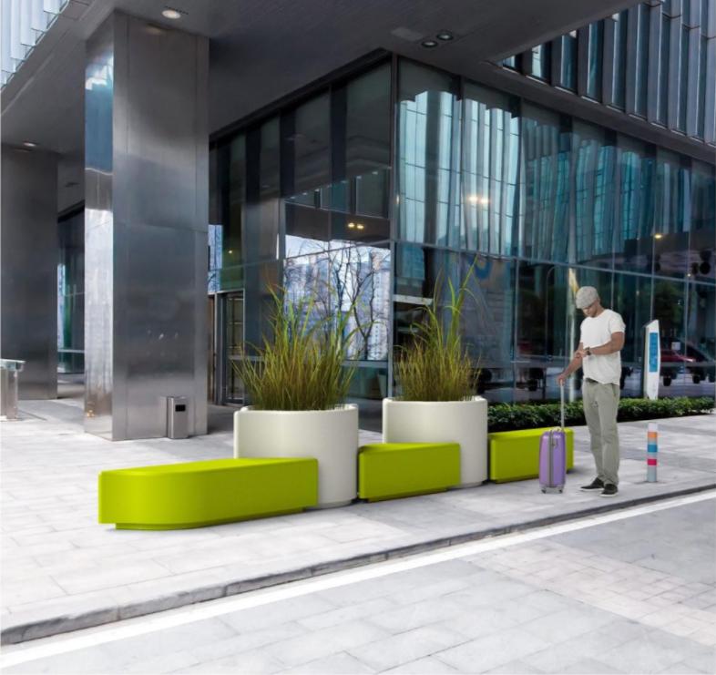 Limone zitelement en plantenbak voor kantoren