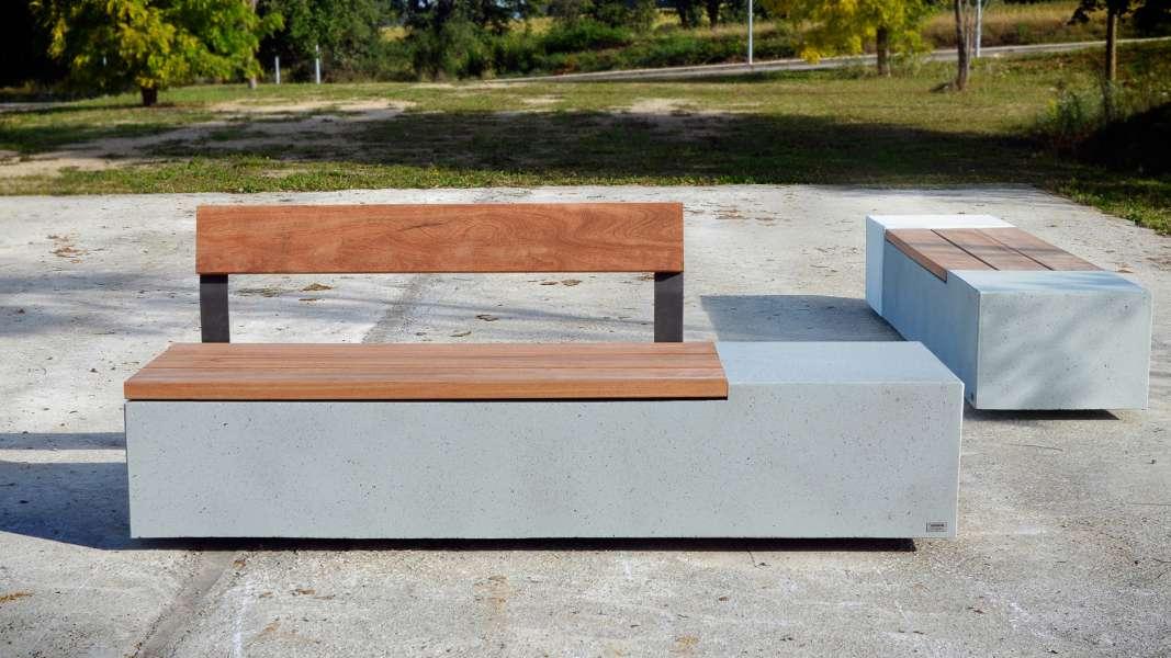 Log bank van beton voor binnen en buiten