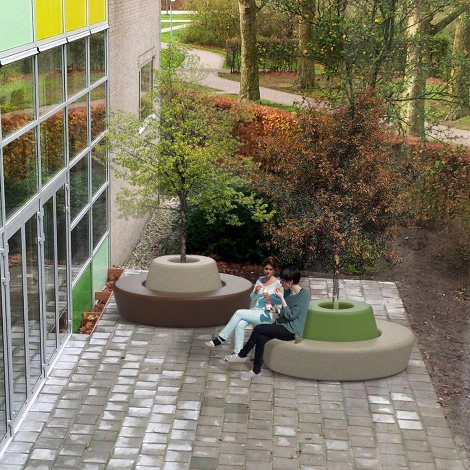 Loop Bank Rond met Rugleuning voor gezelligheid in buitenruimte