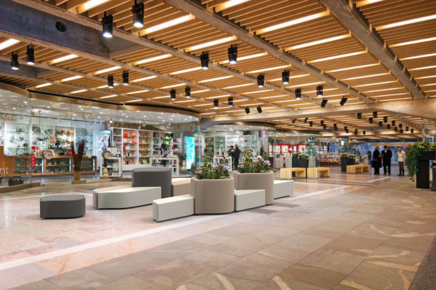 Lungo bank voor binnen in winkelcentra en winkels
