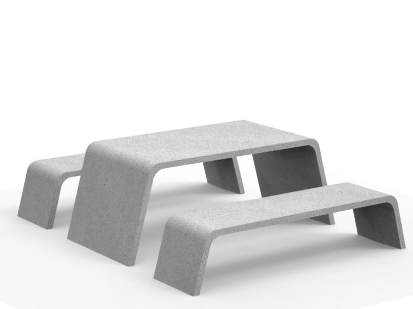 Mimetic tafel van beton met bijpassende banken van steen in grijs wit antraciet heel zwaar buitenmeubilair voor openbare ruimte om in buitenlucht te lunchen recreëren werken ontspannen in kantoortuin plein park gezamenlijke buiten ruimte buitenwerken