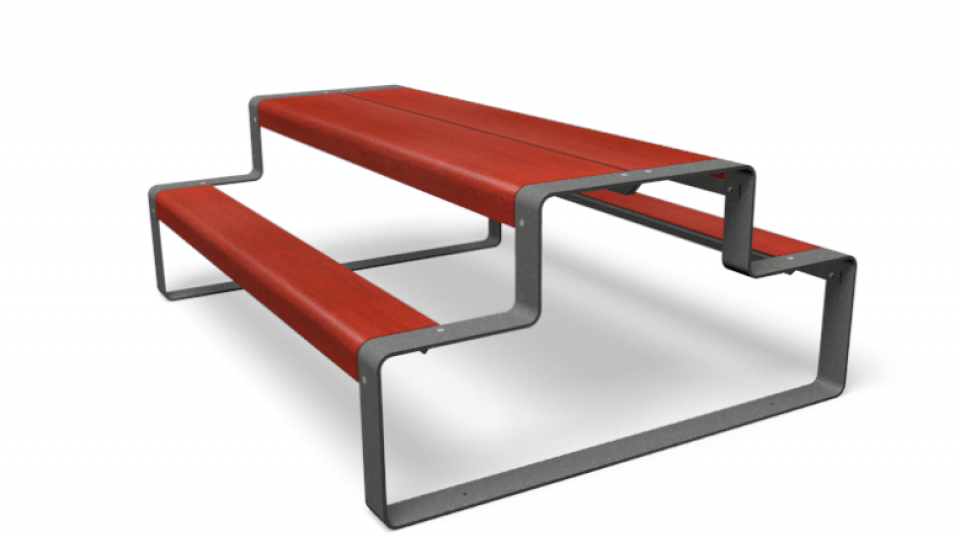 Outline picknicktafel rood