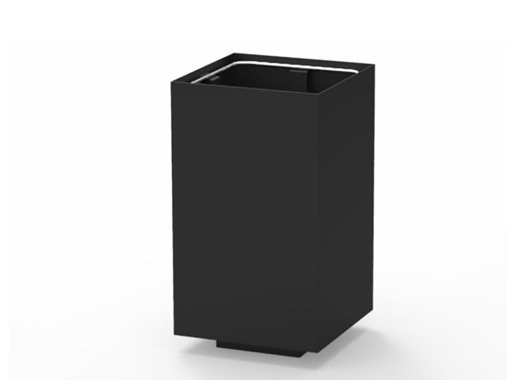 Alras M afvalbak vierkant staal zwart ook rood groen geel grijs prullenbak voor openbare ruimte schoonhouden winkelcentrum vuilnisbak kantoor entree ziekenhuis zorgcentrum publieke ruimte