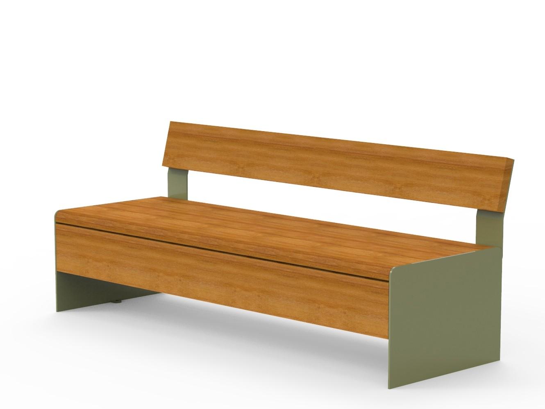 Bru bank gemaakt van houten latten en frame van staal