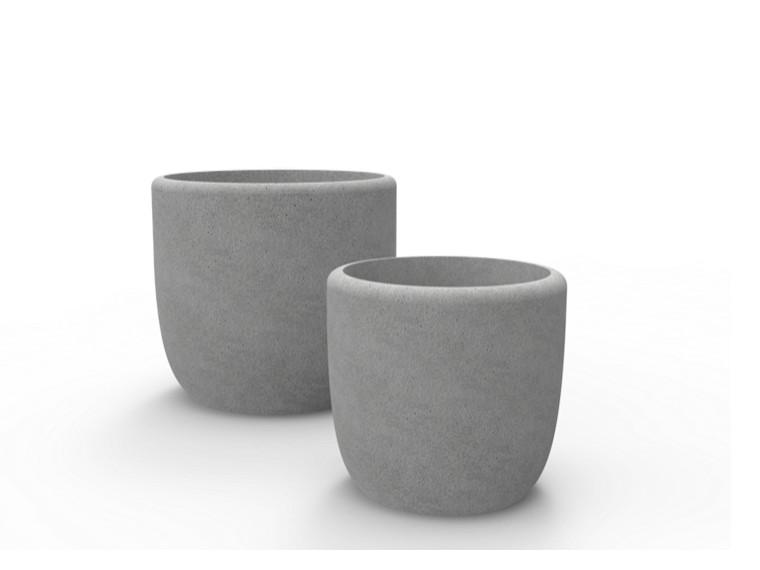 Ronde plantenbak frac van beton twee stuks in het grijs