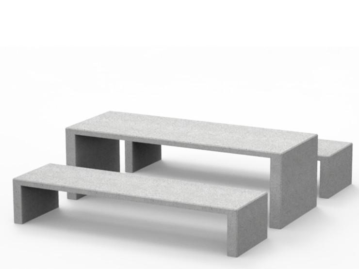 lamina tafel beton betonnen picknicktafel met bank voor buiten straatmeubilair vierkante eethoek voor openbare ruimte schoolplein schoolmeubilair zorg ziekenhuis onderwijs zitten buiten eten werken lunchen collega's hufterproof buitenwerken
