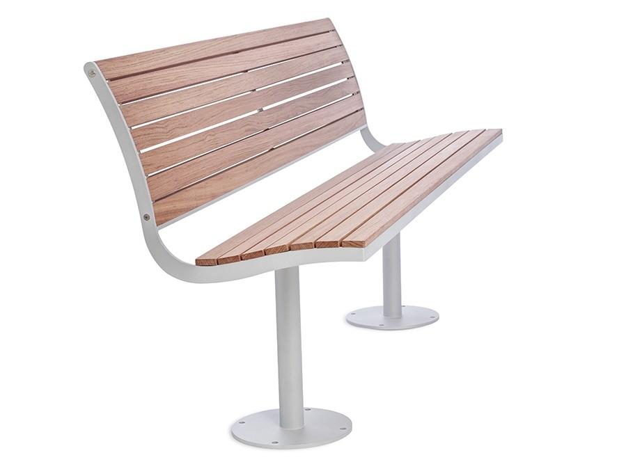 Parco bank houten zitting en rugleuning onderstel staal of ijzer buitenbank voor 4 personen