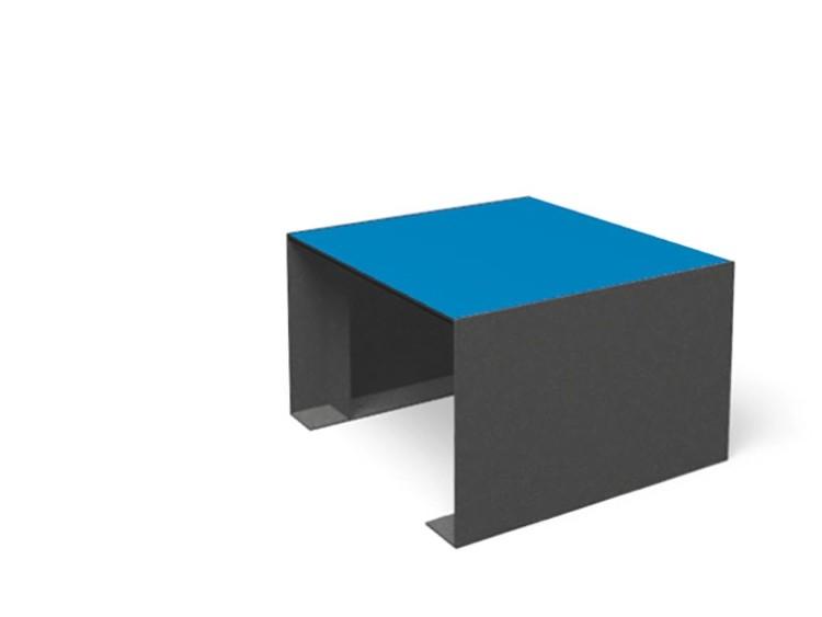 Vierkante kruk passepartout van staal met zitting van hpl met blauwe zit en grijze zijkanten