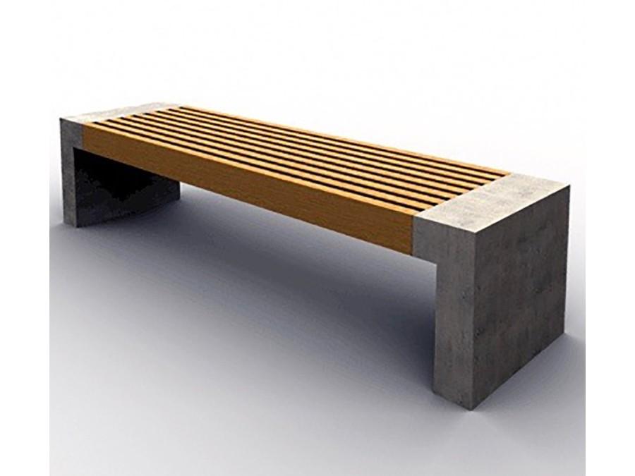 Paxa bank houten zitting met latjes en betonnen ombouw onderstel of wangen genoemd bankje voor buiten ook wel parkbank genoemd