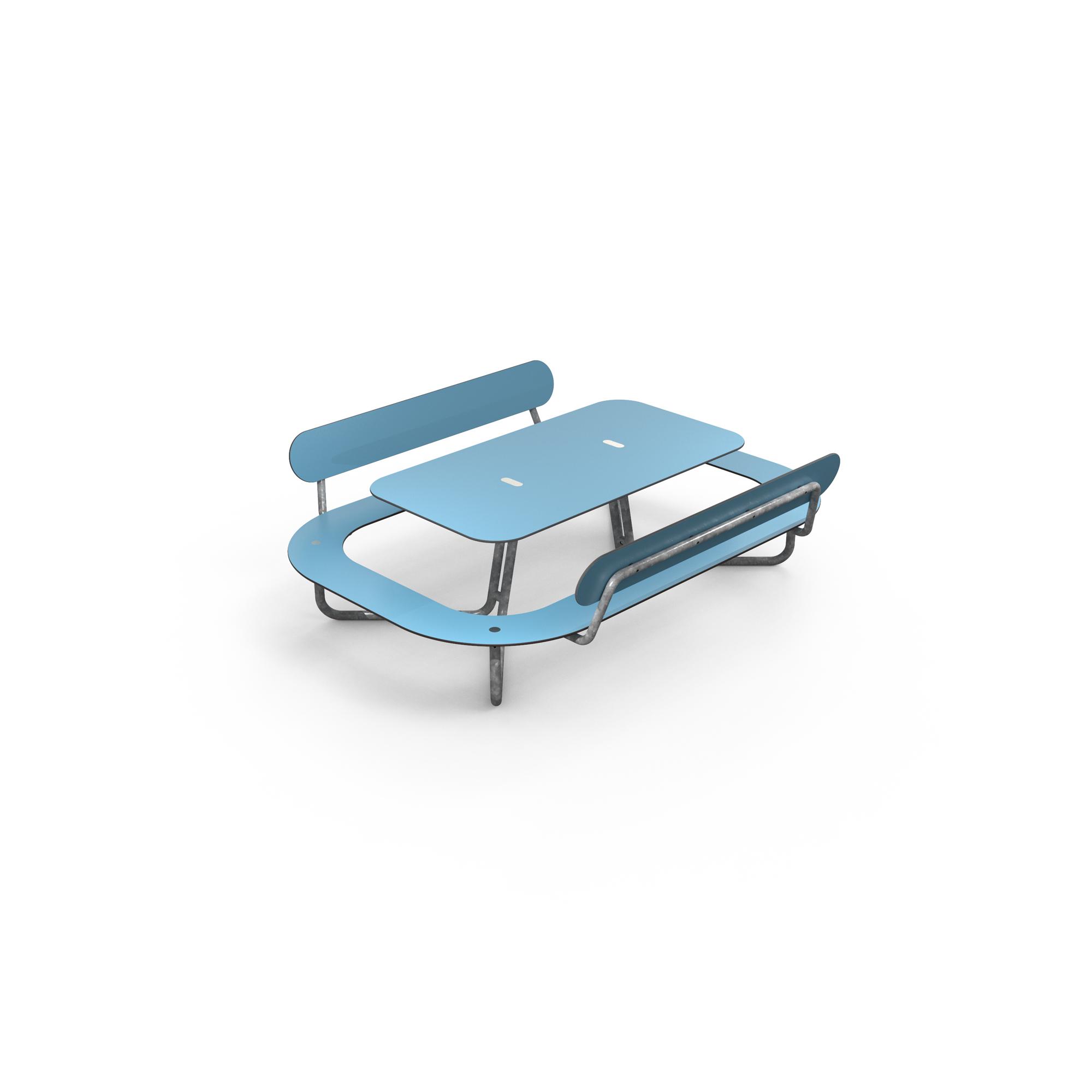 Plateau-L picknicktafel met rugleuning blauw