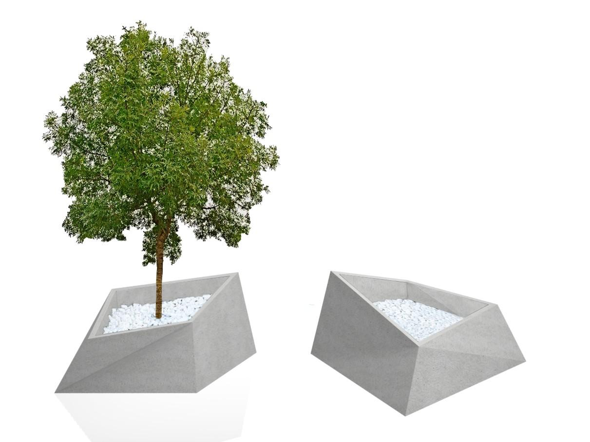 Roc plantenbak voor bloemen planten en bomen van beton in de vorm van sterk beetje hoekig geometrische vorm grote bloembak voor buiten en binnen zwaar ook geschikt als afzetting of markering entree boulevard winkelgebied