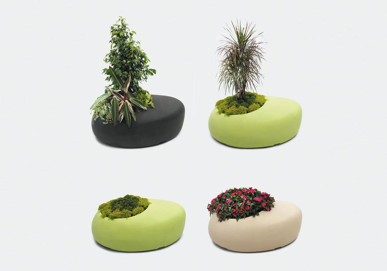 Plantenbak met zit - groen, grijs en beige