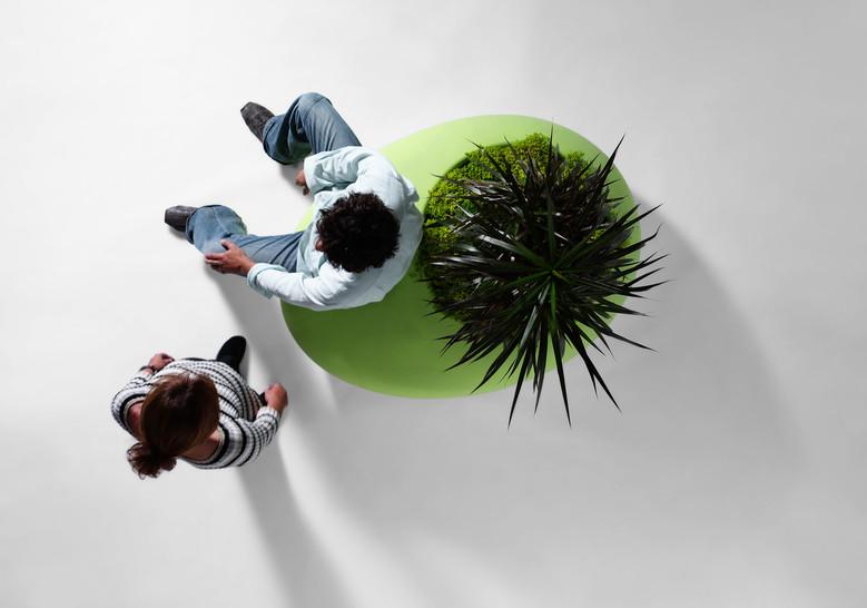 Plantenbak met zitje in het groen met man en kind van bovenaf met cactus achtige plant in ronde bloembak