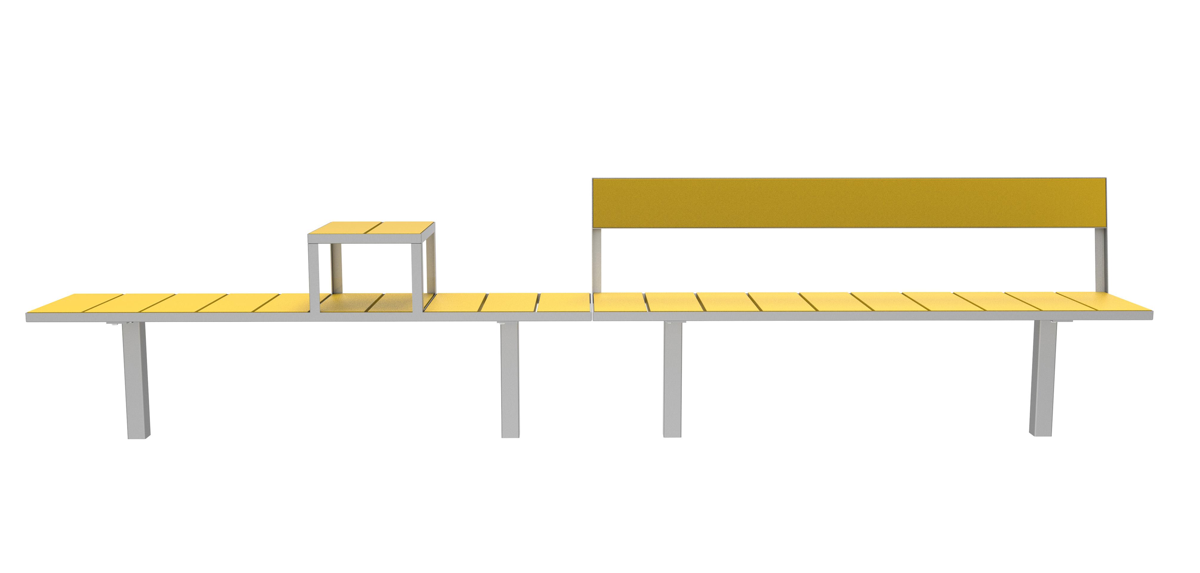 Sidewalk bank - zitting van hout en frame van staal