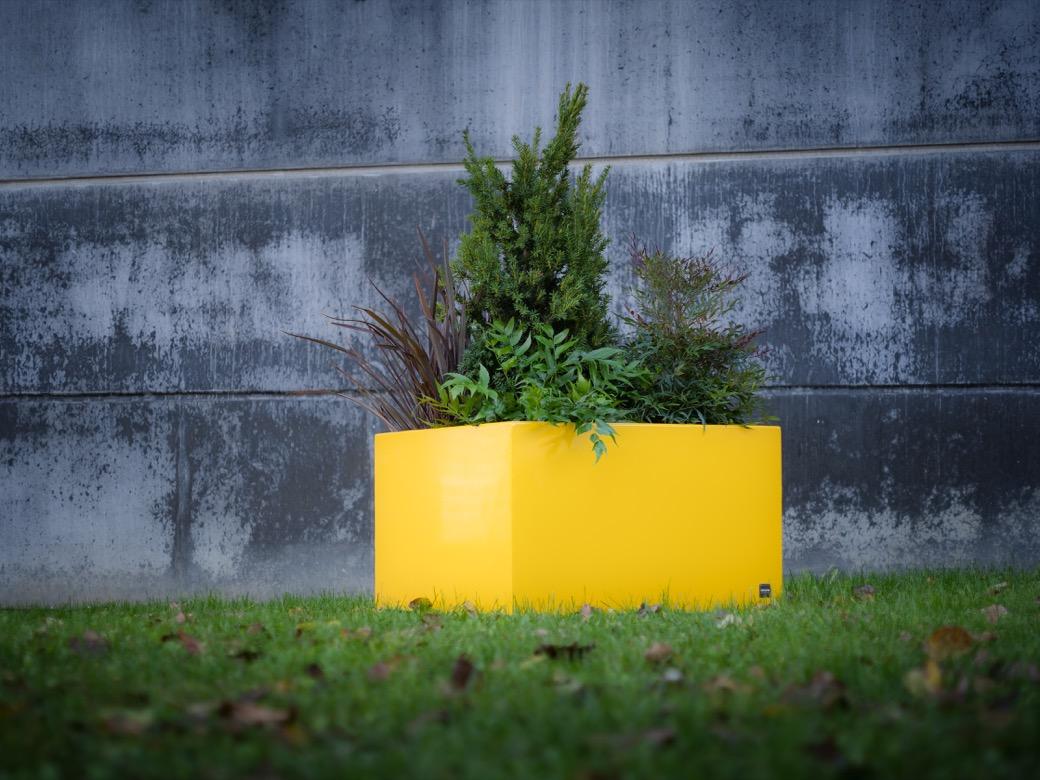 Square plantenbak in geel