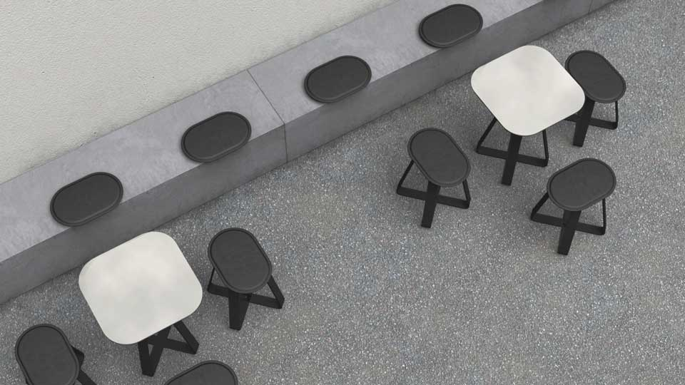 Hot Shot kruk creëert samen met de Hot Shot tafel een moderne omgeving