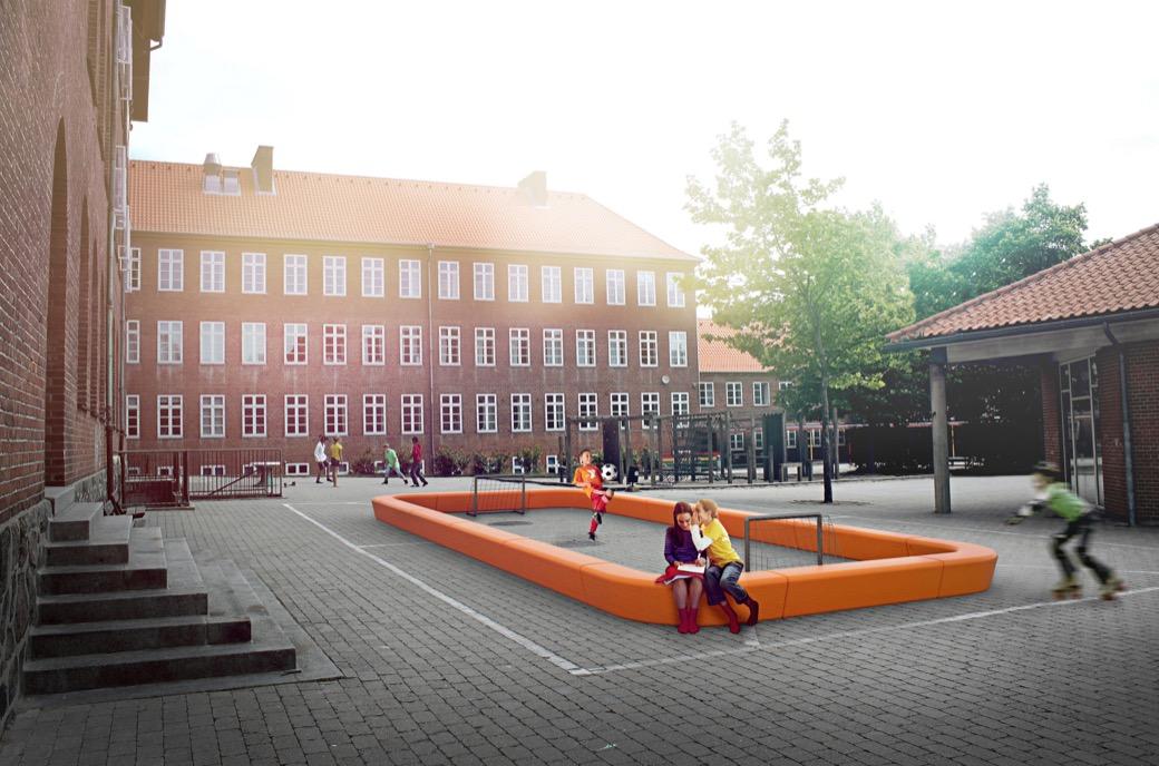 Loop Corner Bank voor op het schoolplein