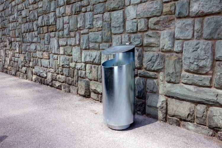 Tubo afvalbak - zilver