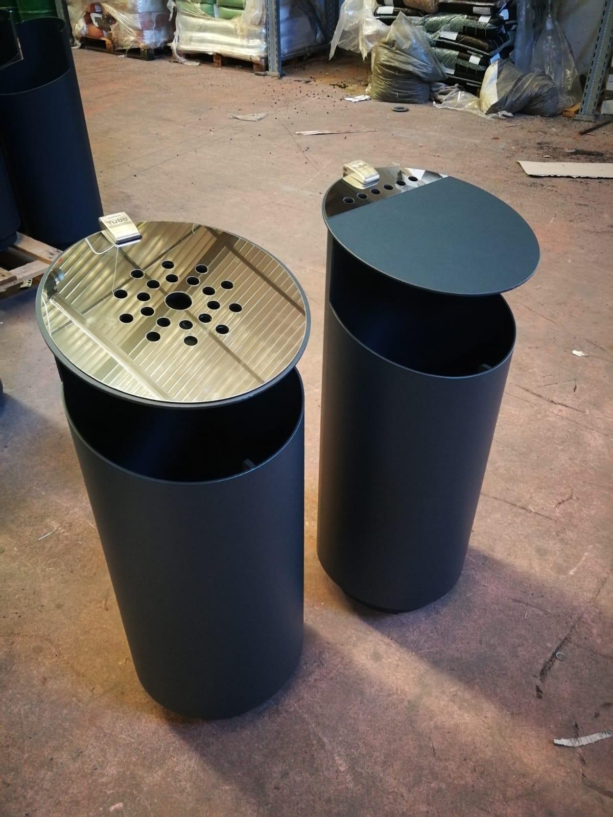 Tubo afvalbak voor in het winkelcentrum of openbare gelegenheden
