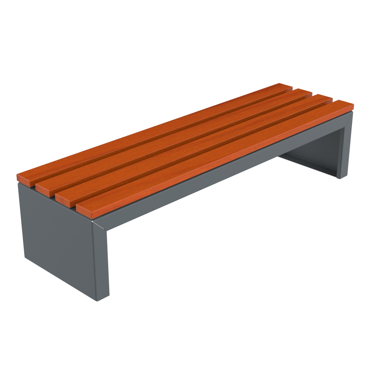 Zeus Plus Bank zonder rugleuning - van staal met hout